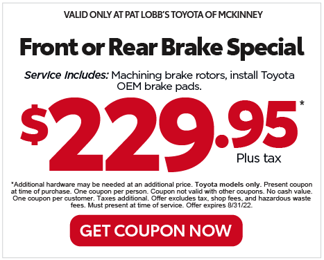 VALID ONLY AT PAT LOBB'S TOYOTA OF MCKINNEY - 4-Wheel Alignmnet $99.95 plus tax* Get Coupon Now