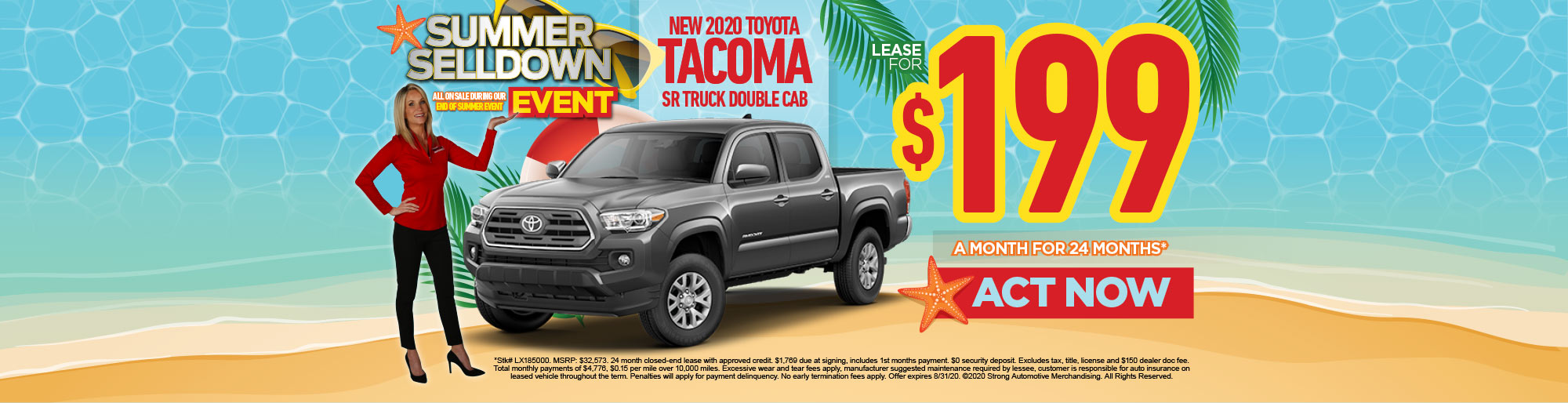LEASE A NEW 2020 TACOMA SR TRUCK DOUBLE CAB FOR $199/MO** - ACT NOW
