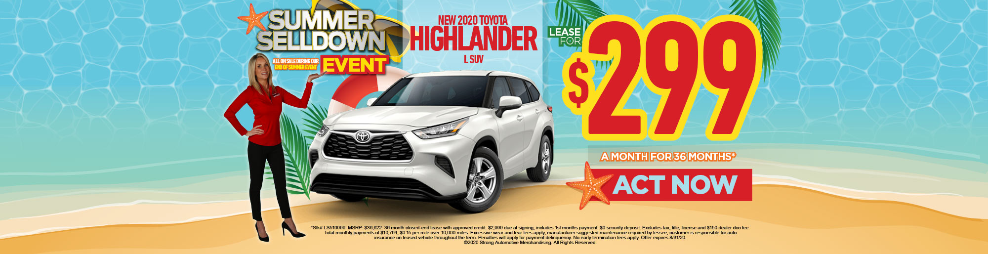 LEASE A NEW 2020 HIGHLANDER L SUV FOR $299/MO** - ACT NOW