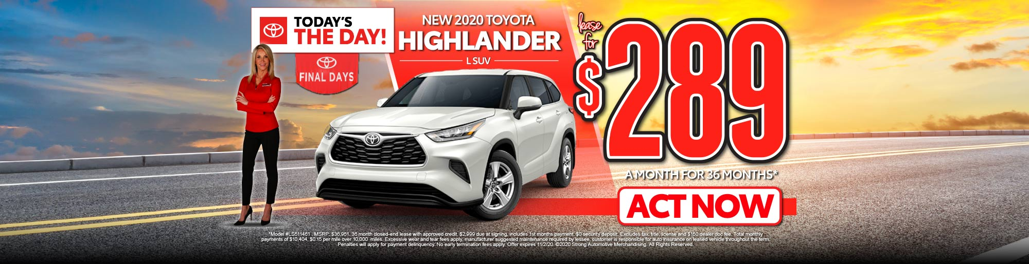 LEASE A NEW 2020 HIGHLANDER L SUV FOR $289/MO* - ACT NOW