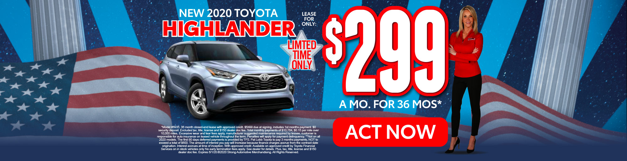 lease a new Highlander for only $299/mo* act now