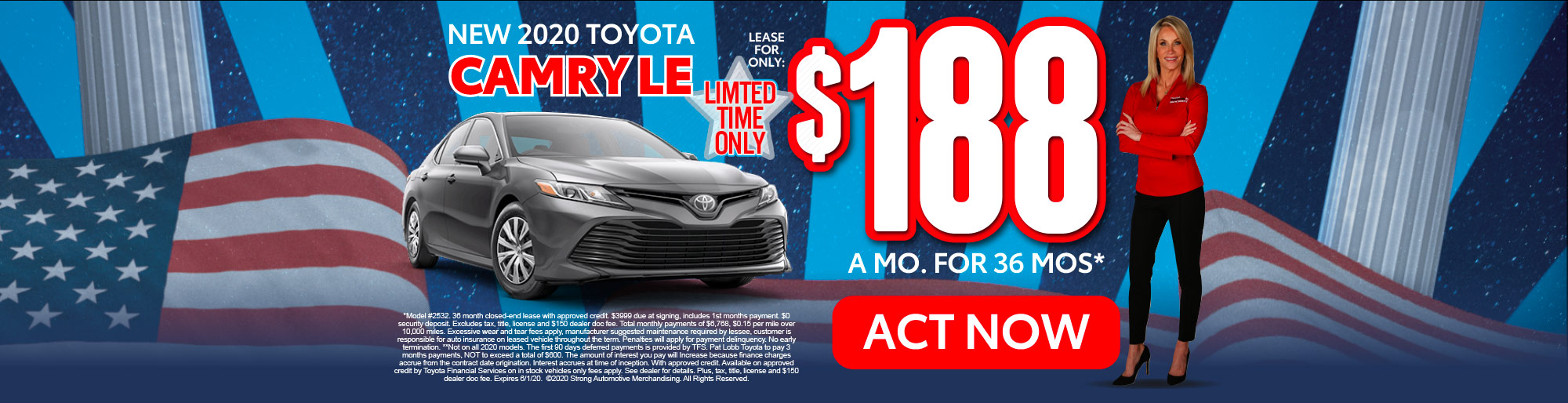 lease a new Camry for only $188/mo* act now