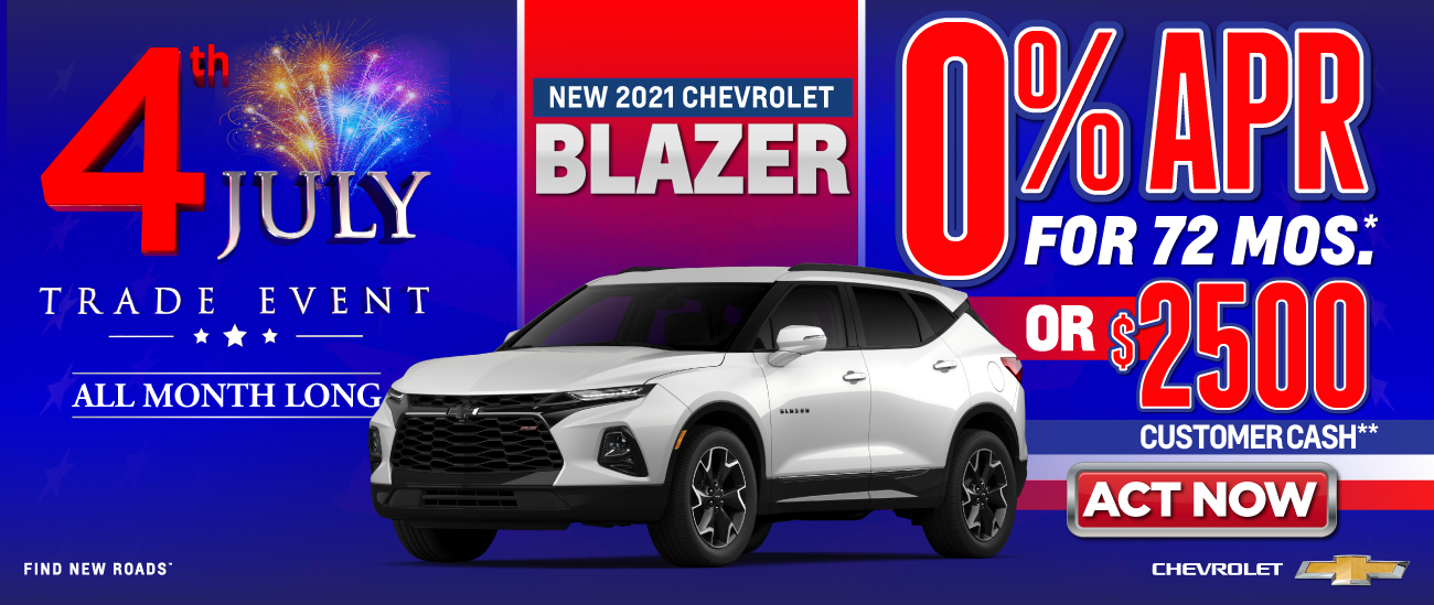 New 2021 Chevrolet Blazer - 0% APR for 72 months - Act Now