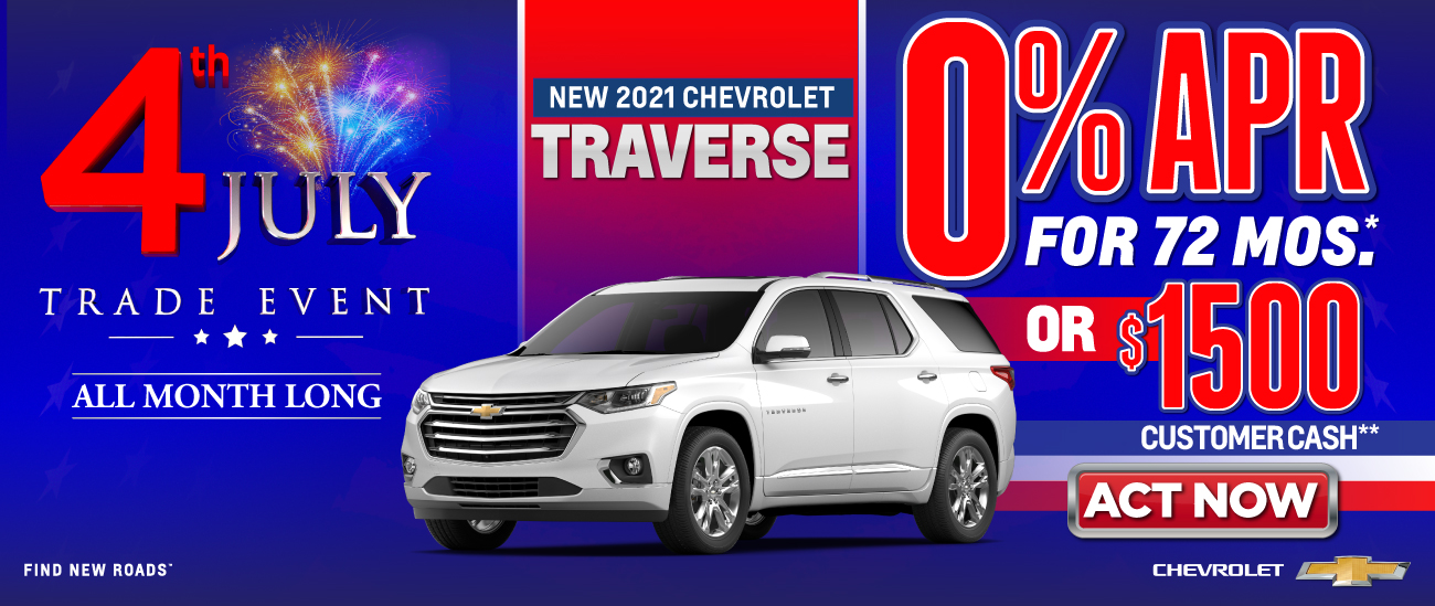 New 2021 Chevrolet Traverse - 0% APR for 72 months - Act Now