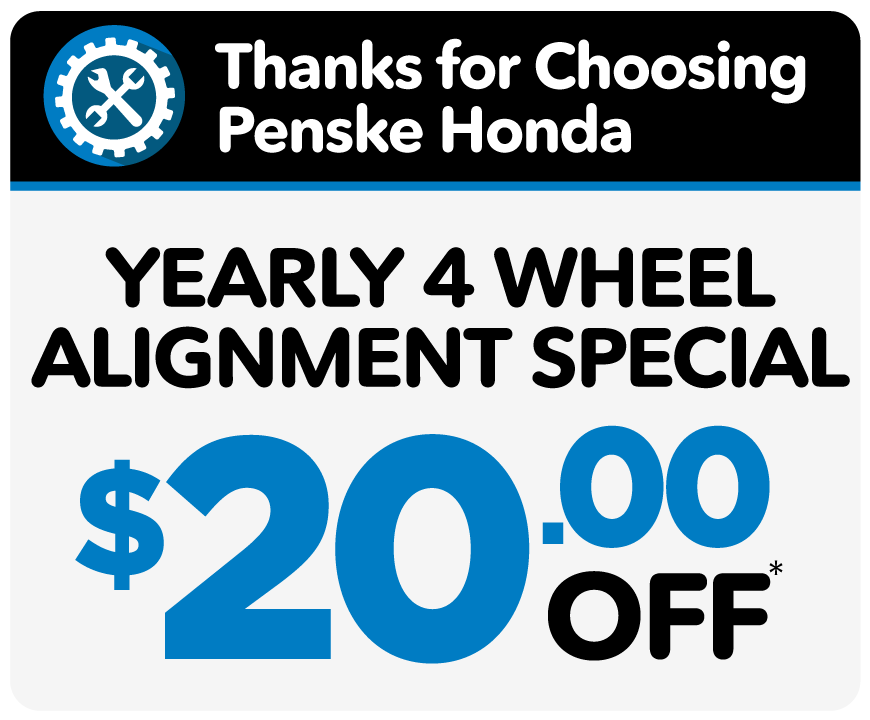 All wheel alignment - Only $69.95 only at Penske Honda