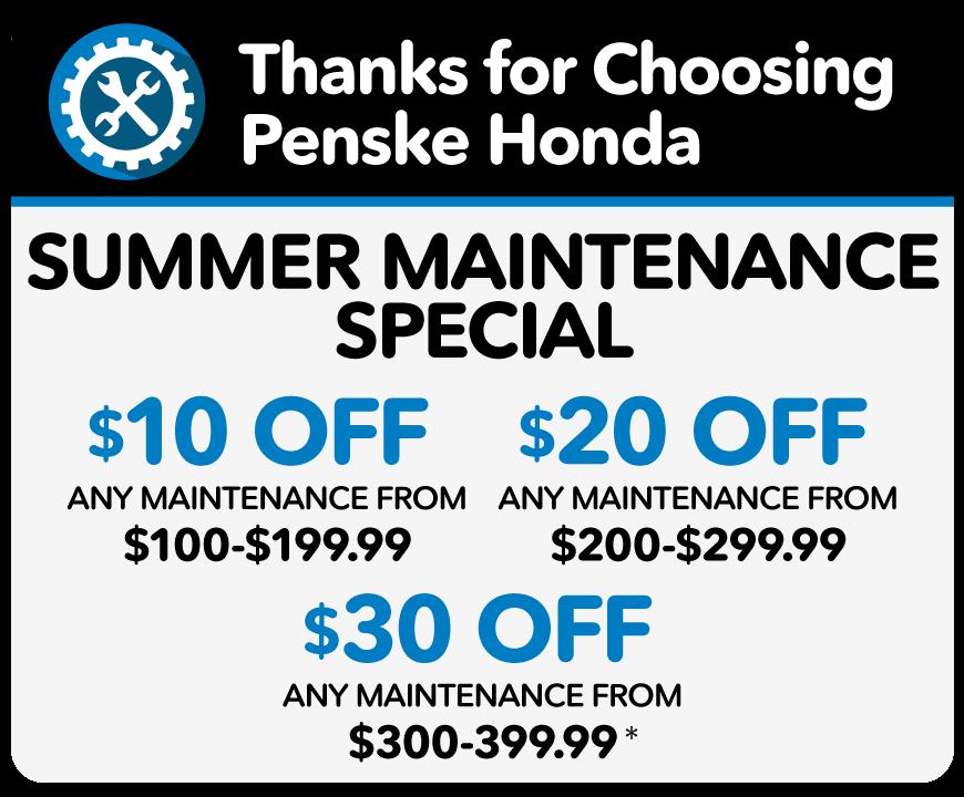 Winter Maintenance Reminder - $5 off 1 reminder, $20 off 2 or more reminders - Only at Penske Honda