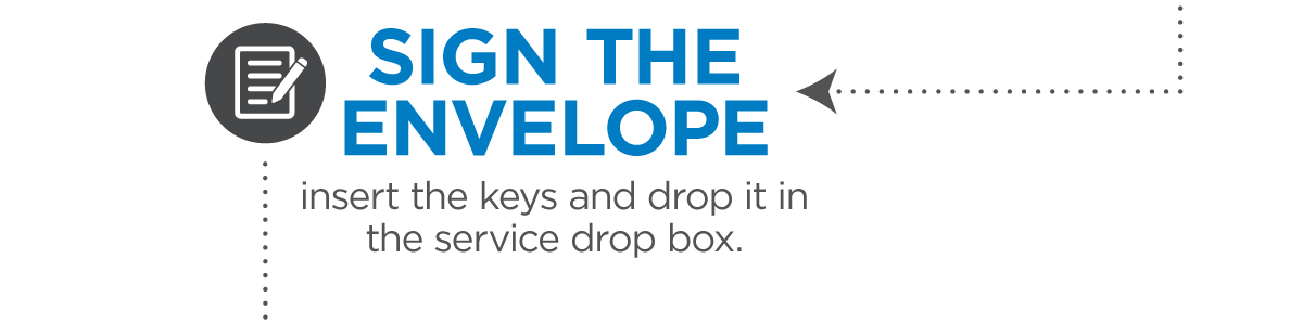 Sign the envelope, insert your keys, and drop it in the service drop box