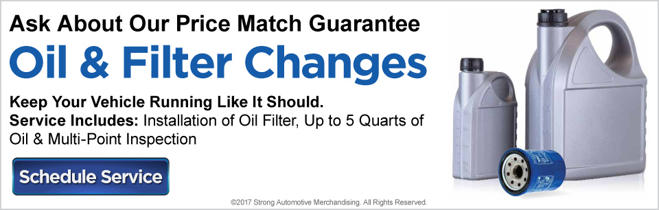 Ask about our Price Match Guarantee. Oil and Filter Changes. Keep your vehicle running like it should. Service includes: Installation of Oil filter, up to 5 quarts of oil and Multi-Point inspection. Click here to schedule service with Renaldo Auto Mall.