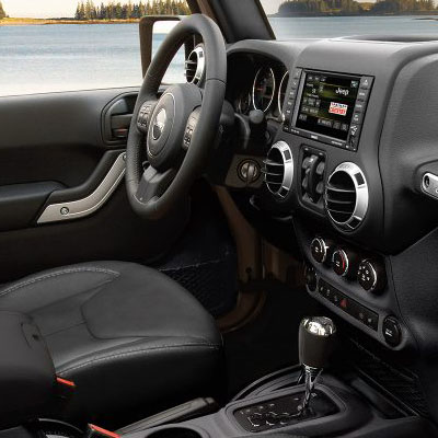 Jeep Wrangler in Fredericksburg Virginia interior features steering wheel