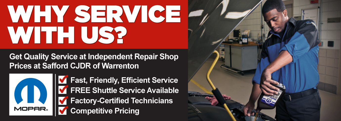 Get Quality Service at Indepedent Repair Shop Prices at Safford CJDR of Warrenton
