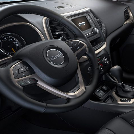 interior features jeep Cherokee steering wheel