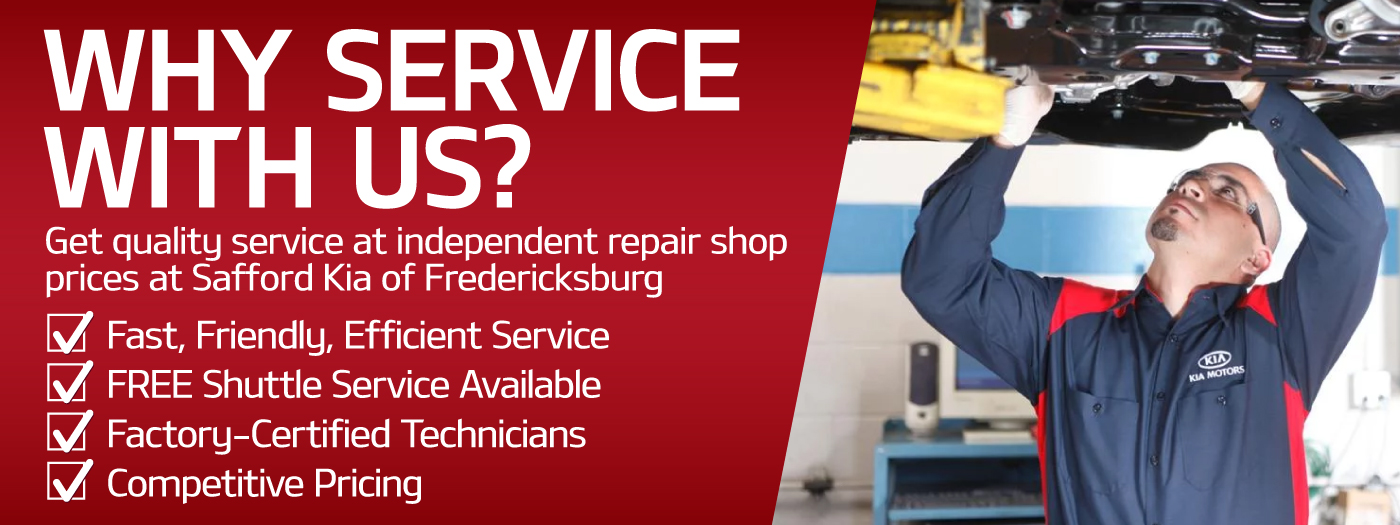 Get quality service at independent repair shop prices at Safford Kia of Fredericksburg.