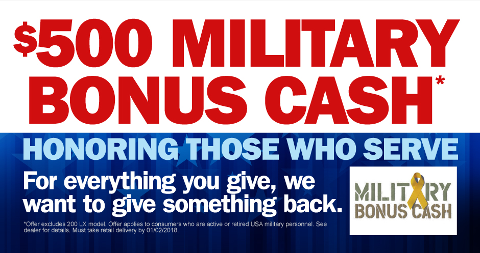 Honoring Those Who Serve. Military bonus cash at Tyson Chrysler Dodge Jeep Ram