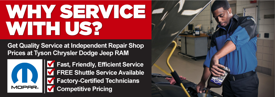 Car service specials in shorewood tyson motor company for Tyson motors service hours