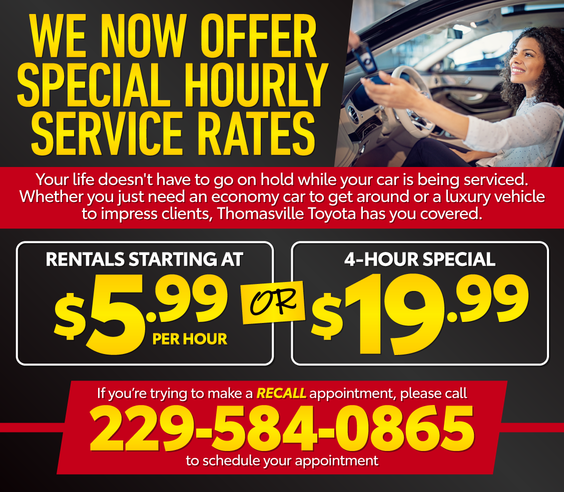 We Now Offer Special Hourly Service Rates - Rentals Starting at $5.99 per hour of $19.99 for 4 hours