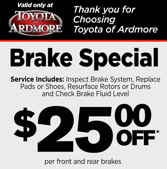 Brake Special now $25 off - includes brake system inspection, replacing pads or shoes, resurfacing rotors or drums and checking brake fluid level - per front and rear brakes