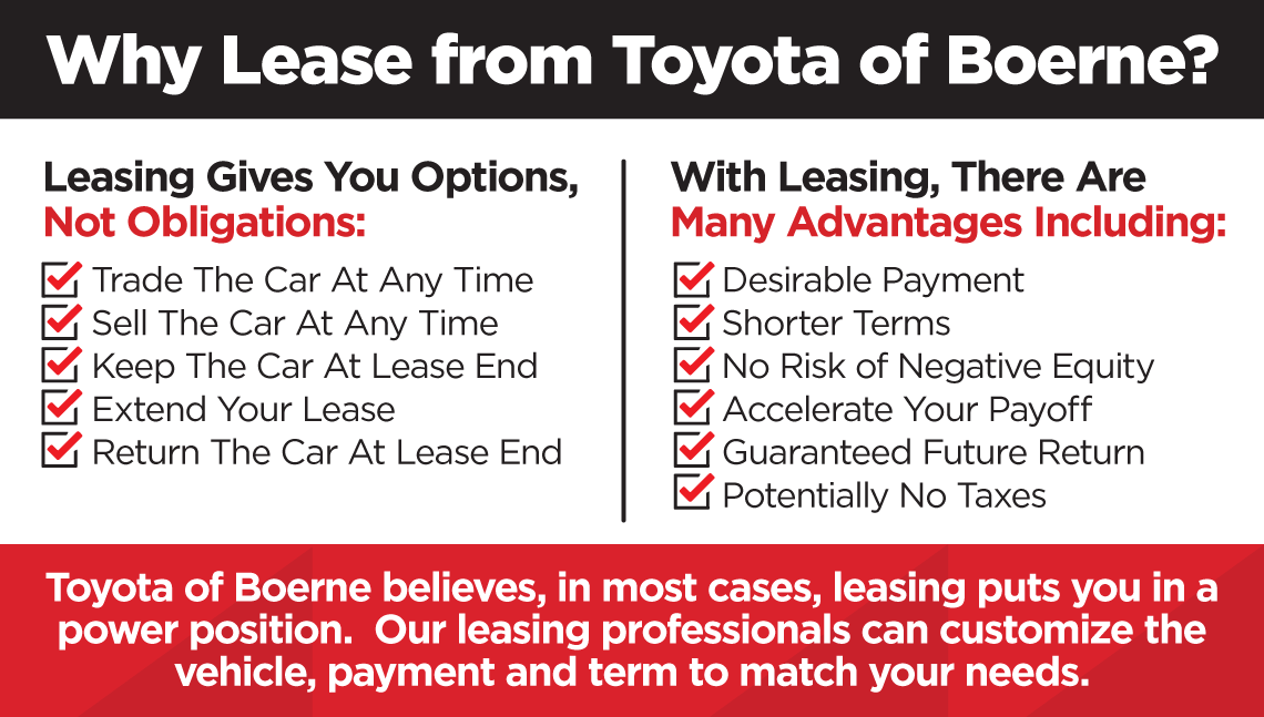 Why Lease from Toyota of Boerne? Leasing Gives You Options, Not Obligations: Trade The Car At Any Time, Sell The Car At Any Time, Keep The Car At Lease End, Extend Your Lease, Return The Car At Lease End. There Are Many Advantages Including: Desirable Payment, Shorter Terms, No Risk of Negative Equity, Accelerate Your Payoff, Guaranteed Future Return, Potentially No Taxes. Toyota of Boerne believes, in most cases, leasing puts you in a power position. Our leasing professionals can customize the vehicle, payment and term to match your needs.