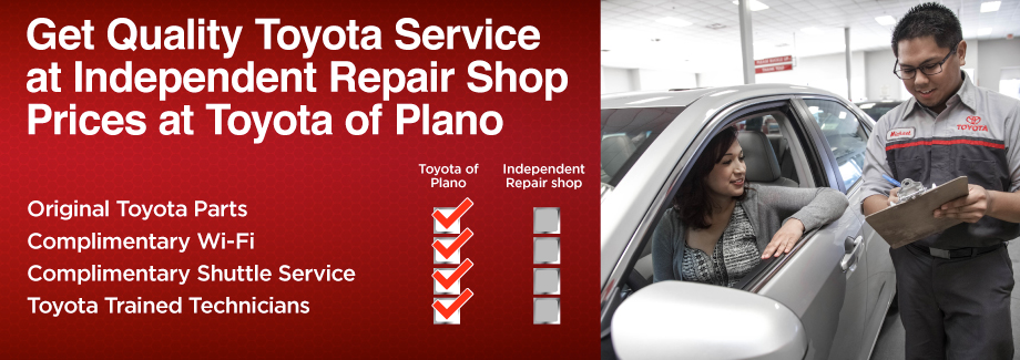 Get Quality Toyota Service at Independent Repair Shop Prices at Toyota of Plano