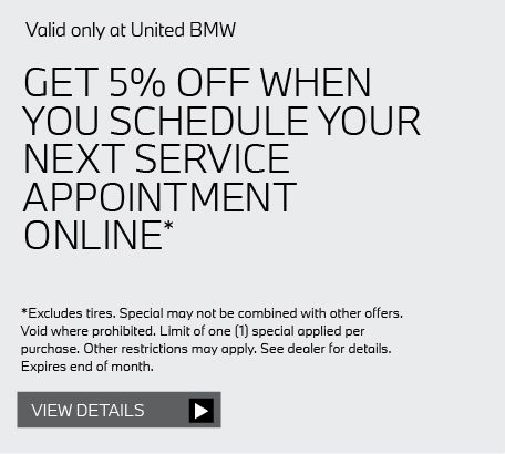 Valid only at United BMW: PADS AND ROTORS PER AXLE $100 OFF* Get details here.
