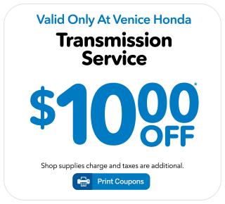 Good Valid Only At Venice Honda. Must Present Coupon When Written. Coupon Only  Applies When Presented Before Service Is Performed.