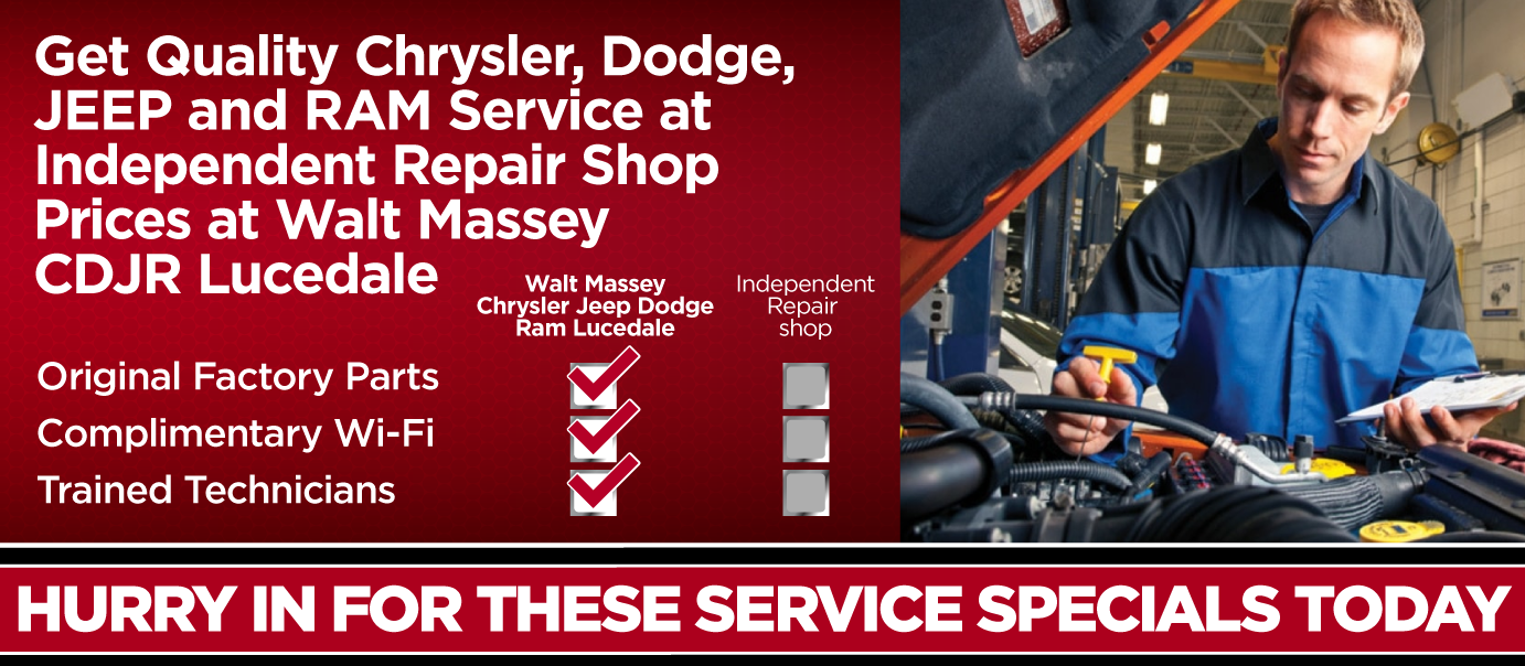 Get Quality Service at Independent Repair Shop Prices at Walt Massey CDJR Lucedale