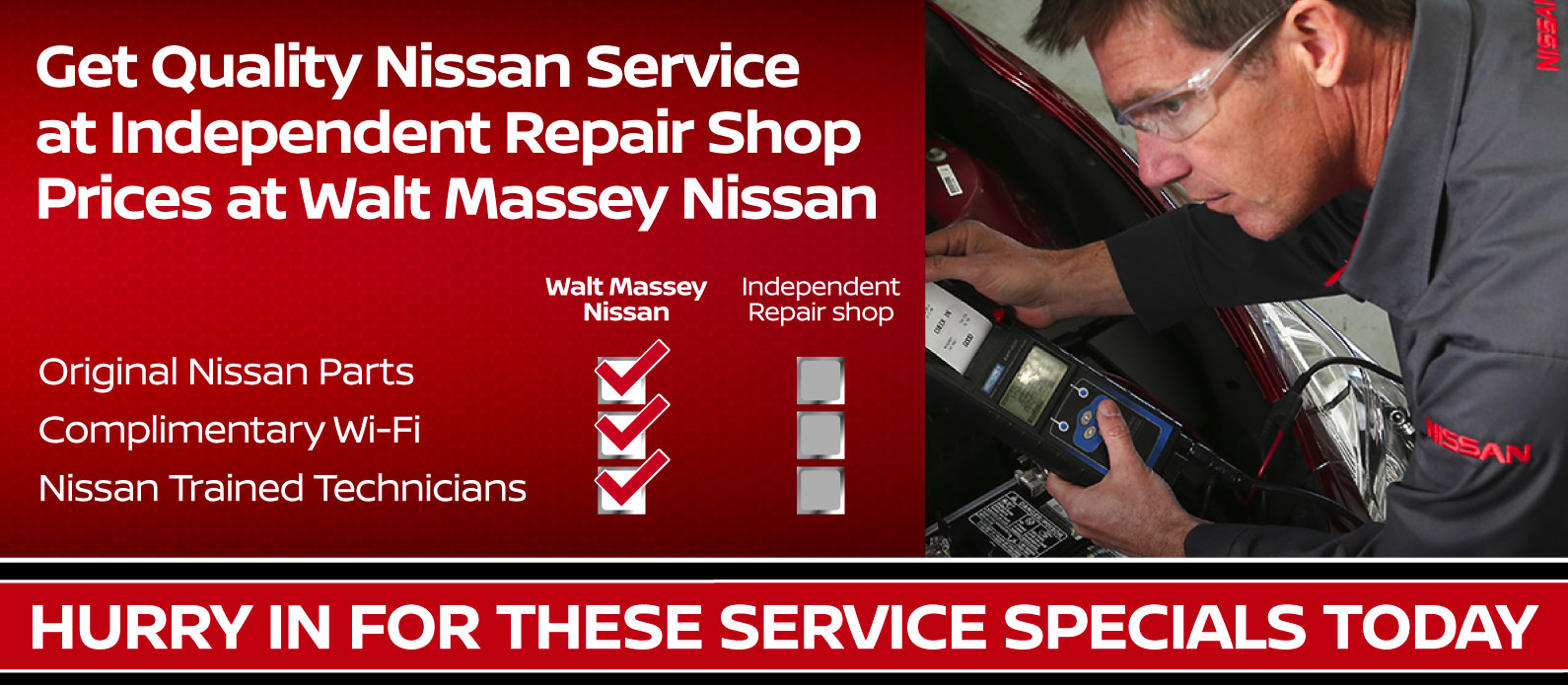 Get quality Nissan Service at Independent Repair Shop Prices at Walt Massey Nissan