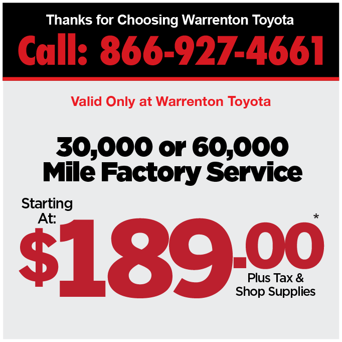 30,000 or 60,000 Mile Factory Service starting at $189